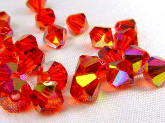 25 Swarovski Indian Red AB 5mm 5301 Bicone Jewelry Beads