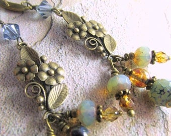 Natural Brass Blue Denim, Brown and Aqua Faceted Agate, Swarovski Crystal and Czech Glass Long Earrings
