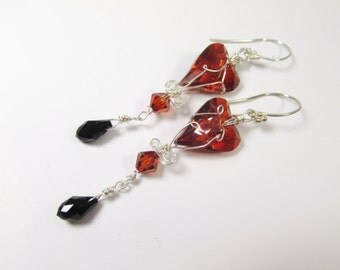 Swarovski Red Magma Wired Wild Heart Earrings in Sterling with Jet Black Teardrops - Marsala Collection