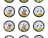 """Printable """"Bow Wow Puppy Sports Buddies"""" Cupcake Toppers/Stickers/Tags Editable  Instant Digital Download"""