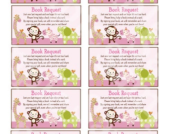 "Printable ""Jungle Jill/Girl Animals"" Book Request Cards Instant Digital Download"
