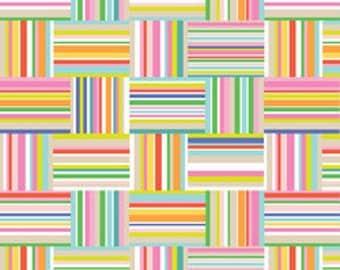 Nautical-Striped Fabric-Sunsational-Seaside Stripe in Pink-Maude Asbury-Blend Fabrics-One Yard
