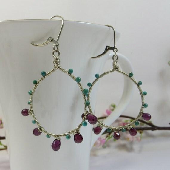 Turquoise Garnet Earrings, Handmade Sterling Wirewrap Earrings, Turquoise and Garnet Gemstone Hoops w Sterling Handmade Leverback Fittings