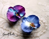 Blue or Purple Orchid Hair Flower Clip -Wedding / Pinup / Rockabilly Hair Accessory