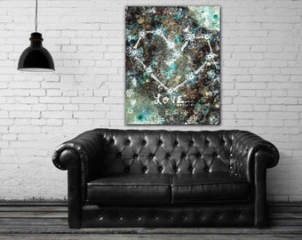 Cosmic Love - stretched canvas print, mixed media painting, heart constellation painting, bohemian wall art, abstract modern wall art