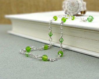 Green Jade Anklet, Green Gemstone and Crystal Ankle Jewelry, Summer Fashion for Her, Wire Wrapped Ankle Bracelet