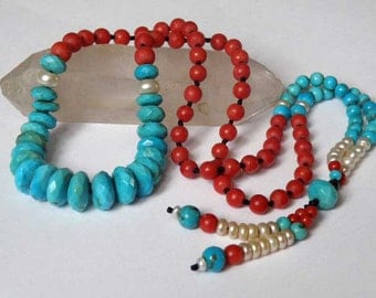 Turquoise Coral gemstone necklace - faceted Turqouise beads - round red Coral beads - white Pearl - Tribal necklace - Natural stones - OOAK