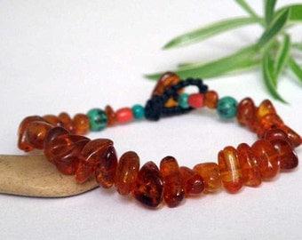 Orange Baltic Amber bracelet - green Turquoise - red Coral beads - Gemstone bracelet - flake - transparent -  macrame - Tribal bracelet