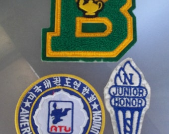 "Academic and Athletic Letters, Sweater Patches, Vintage Patches, School Badges, Junior Honor Society, Letter ""B"" Academic Letter"