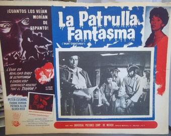 Spanish Language Movie Poster, Night Creatures, La Patrulla Fantasma, Vintage Movie Ephemera, Horror Movie, Suspense Thriller, Peter Cushing