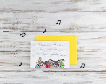 Cynical Carolers Blank Holiday Card - Seasons Greetings