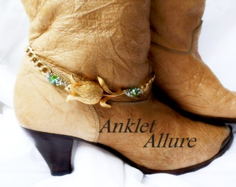 SINGLE Vintage Flower Boot Chains Green Crystal Gold Boot Jewelry