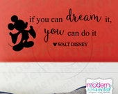 Disney If You Can Dream It You Can Do It Quote Vinyl Wall Decal Lettering Nursery Mickey Mouse