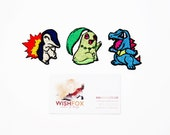"Iron-On Pokemon Patches, Machine Embroidered, 2"" small size cyndaquil totodile chikorita gen2 starters, MSD SD BJD"