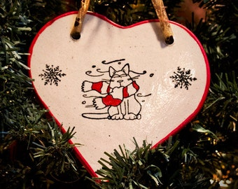 Cold Kitty - Holiday Heart Ornament