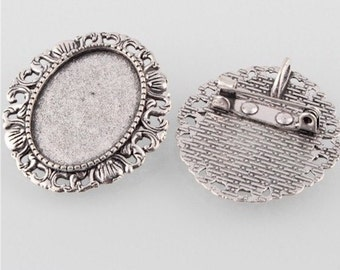 25x18 cameo base Antique Silver Brooch setting with Bail cabochon gemstone pin necklace combo makes a great photo charm for weddings 766x