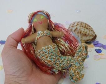 Lavina Mermaid doll, Colorful hair Mermaid, Fantasy Doll, Soft Toy Doll
