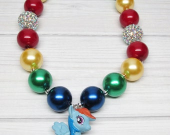 My Little Pony Inspired Chunky Necklace Inspired Rainbow Dash Bubblegum Necklace