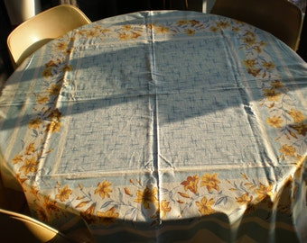 Vintage Mid Century Linen Table Cloth - Yellow Flowers