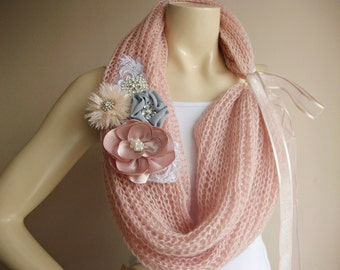 Pink Infinity  Scarf-Hand Knit Loop Scarf-Pink  Neckwarmer/ Cowl with  Blush Brooch