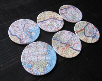 South Carolina Vintage Map Coasters (Set of 6)