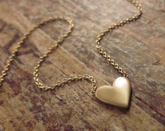 14K Gold Heart Necklace 14K Gold Necklace Valentines Day Gift for Women Gold Heart Necklaces Girlfriend Gift Gold Jewelry 14K Gold Necklaces