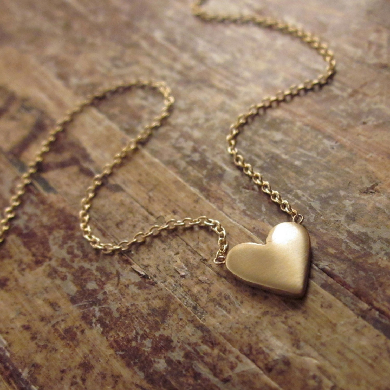 14k gold heart necklace wife gift girlfriend gift 14k gold. Black Bedroom Furniture Sets. Home Design Ideas