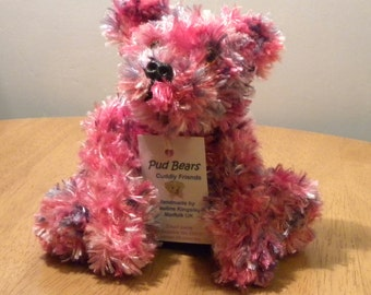 Hand Knitted Teddy for Collectors - Knitted Bear - 9 inches - Pink Knitted Bear
