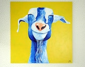 Goat Art Goat Painting 24x24 Canvas Art Blue and Yellow Merv the Happy Goat