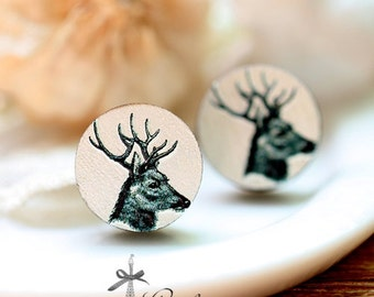 20% off -NEW Unique 3D Embossed    Deer 16mm Round Handmade Wood Cut Cabochon to make Rings, Earrings,,Necklaces, Bracelets-(WG-97)
