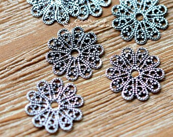 Antiqued Silver  plated RAW brass Filigree  Jewelry Connectors Setting Cab Base Connector Finding  (FILIG-AS-25)