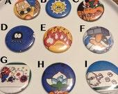 Super Villians! One of a kind Super Mario Nintendo large Pin Back Buttons - you choose