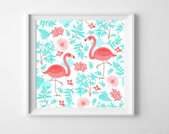 Flamingo Nursery Kids Room Art Print Pink Aqua beach ocean cottage more colors available