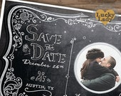 Chalkboard Moonlight Save the Date 5x7 Photo Magnet by Luckyladypaper - CUSTOM MAGNET ORDER