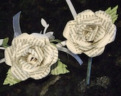 his and hers boutonnieres buttonholes corsage pin brooch lapel pin book page rose