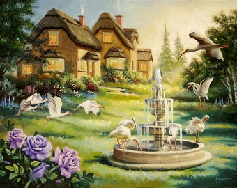 Ibis Cottage by RUSTY RUST large 30x40 original oils on canvas painting / I-38