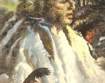 Indian illusion eagle large 36x24 original oils on canvas painting by RUSTY RUST / E-167