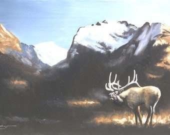 Elk wildlife animal mountain landscape 24x36 oils on canvas painting by RUSTY RUST / E-134