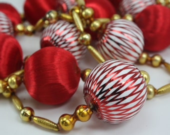 Vintage Gold Mercury Beaded Red White Satin Ball Garland