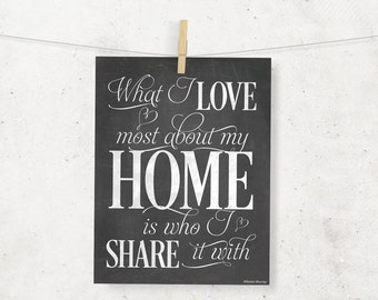 What I Love Most About My Home is Who I Share It With Digital Print --8 x 10--Chalkboard Wall Art --Typography