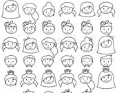 Stick Figure Heads Clipart Clip Art Vectors, Stick People Family Clip Art Clipart Vectors - Commercial and Personal Use
