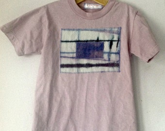 Rose Cotton T-Shirt Hand Dyed,  size 6/8  youth, tie dyed wearable art