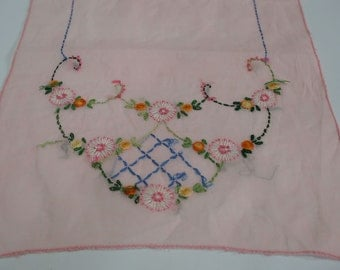 Vintage Handmade Embroidered Dresser Scarf Semi-Sheer Pink Use or Re-purpose