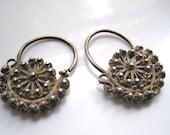 Vintage Uighur Earrings - Uyghur Silver Hoop Earrings - Ethnic Jewelry - Tribal Jewelry - Chinese Jewelry - Asian Jewelry
