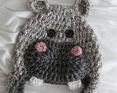 Baby Girl Hippo Hat - Baby Hippopotamus Hat with Bow Clip - Hippo Hat - Baby Girl Hats - Baby Halloween Costume - by JoJo's Bootique