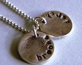 Personalized Fine Silver Round Fingerprint Name Mommy Charm for Necklace- Christmas Gift