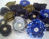 Fabric flowers --- 15 blue green gray mix--- upcycled