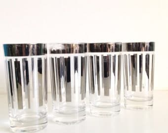 Mid Century Silver Ombré Lined Glassware