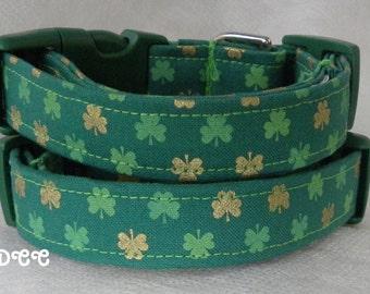 Dog Collar Shamrocks of Green and Gold Dark Green Background St Patricks Day Luck of the Irish Fun Adjustable Collars w D Ring Choose Size