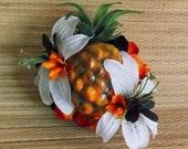 White and Black Carmen Miranda Pineapple Fruit Hair Clip, Hawaiian PinUp Tropical Tiki Tiger Lily Flower Fascinator